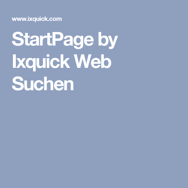 StartPage by Ixquick Web Suchen