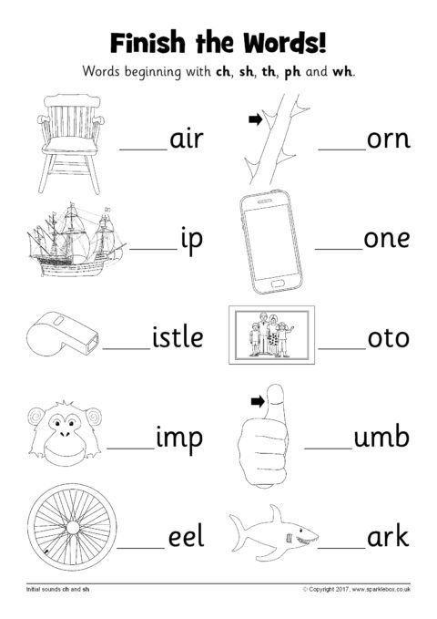 Finish The Words Worksheets Ch Sh Th Ph And Wh Sb12227 Sparklebox Phonics Worksheets Kindergarten Worksheets Printable Teaching Phonics