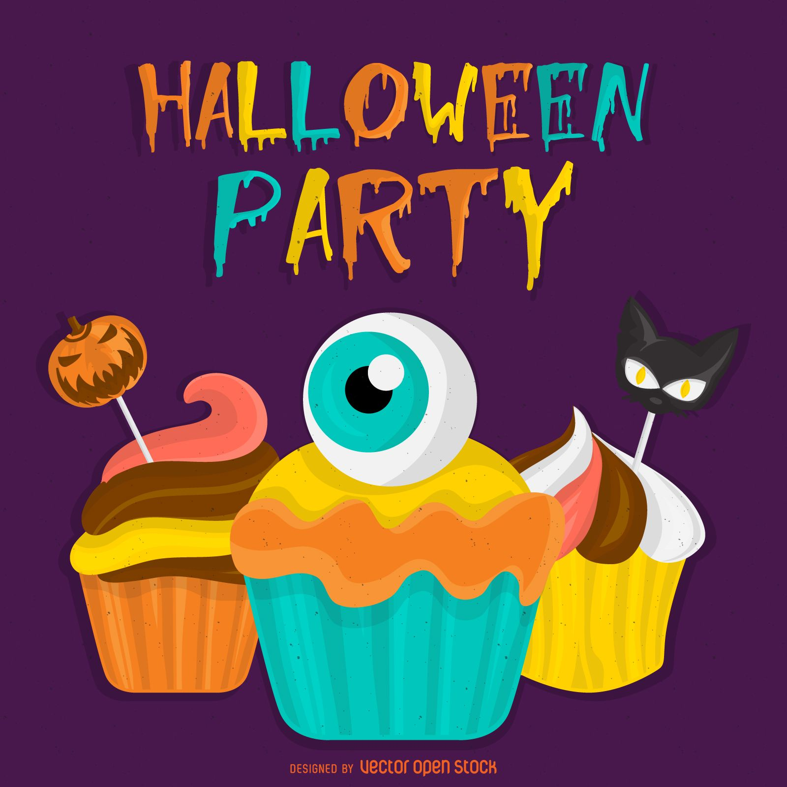 spooky halloween party sign featuring cupcakes with scary
