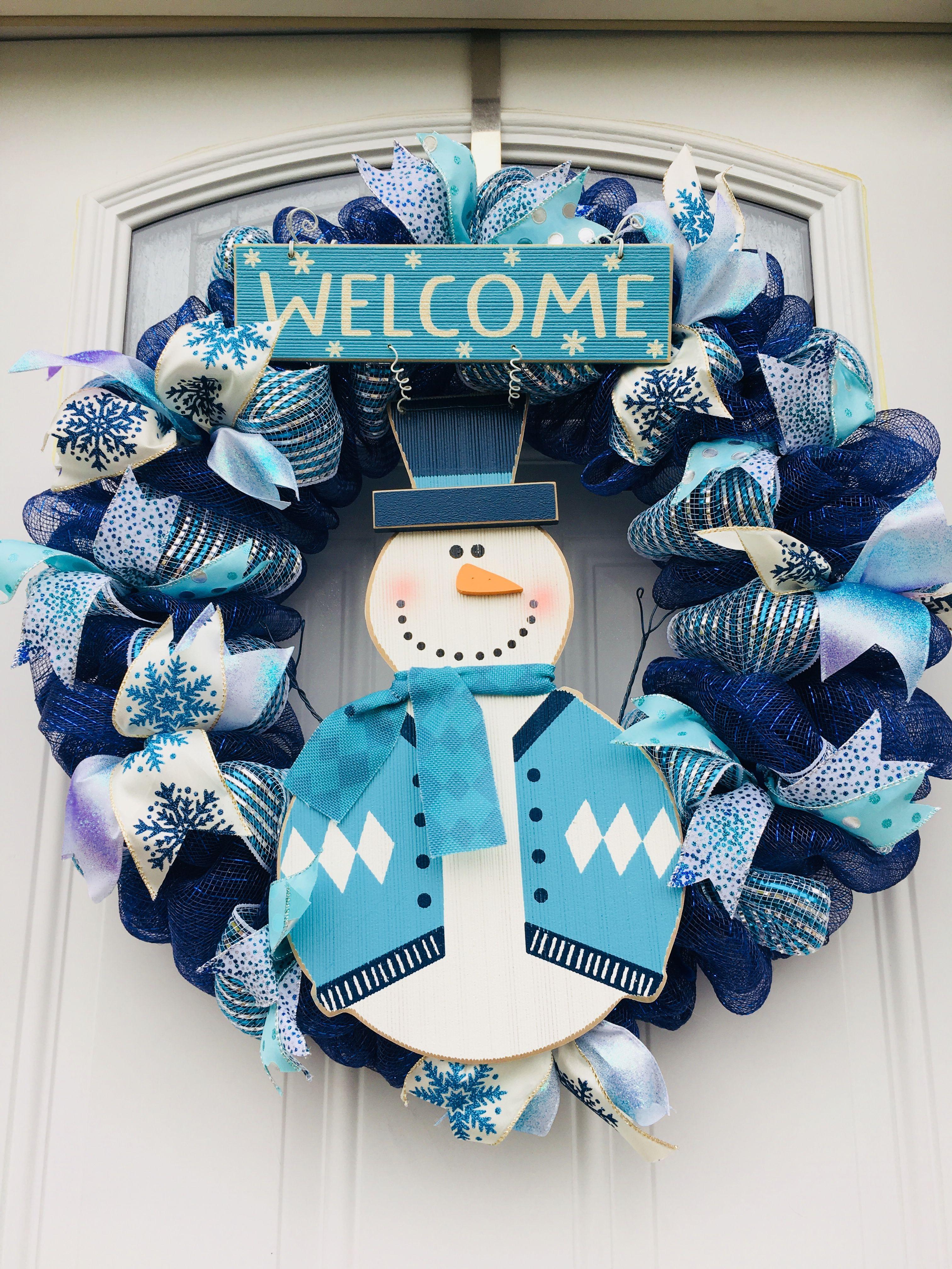 Navy Blue Light Blue Snowman Winter Deco Mesh Wreath Deco Mesh