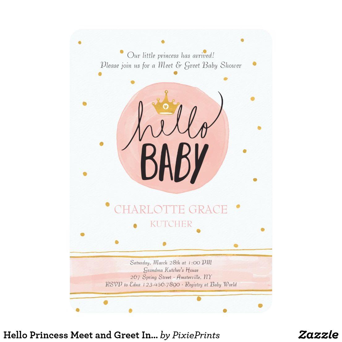 Hello Princess Meet and Greet Invitation | Zazzle.com | Baby shower  invitation wording, Baby shower invitations for boys, Personalized baby  shower invitations