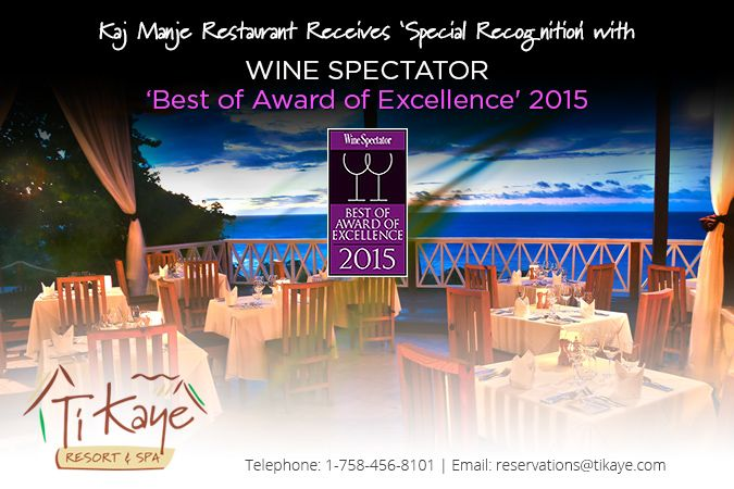 KAI MANJE AT TI KAYE RESORT & SPA RECEIVES 'SPECIAL RECOGNITION' WITH 'BEST OF AWARD OF EXCELLENCE' Wednesday the 8th July 2015 will be a date firmly ingrained in the history of Ti Kaye Resort & Spa. It was the day we were informed that ou...