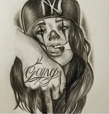Art Lowrider Art Tattoo Sketches Gangster Clowns Gangsta Girl