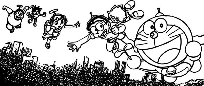 Doraemon And Friends Fly Coloring Page Fall Coloring Pages Cartoon Coloring Pages Bible Coloring Pages