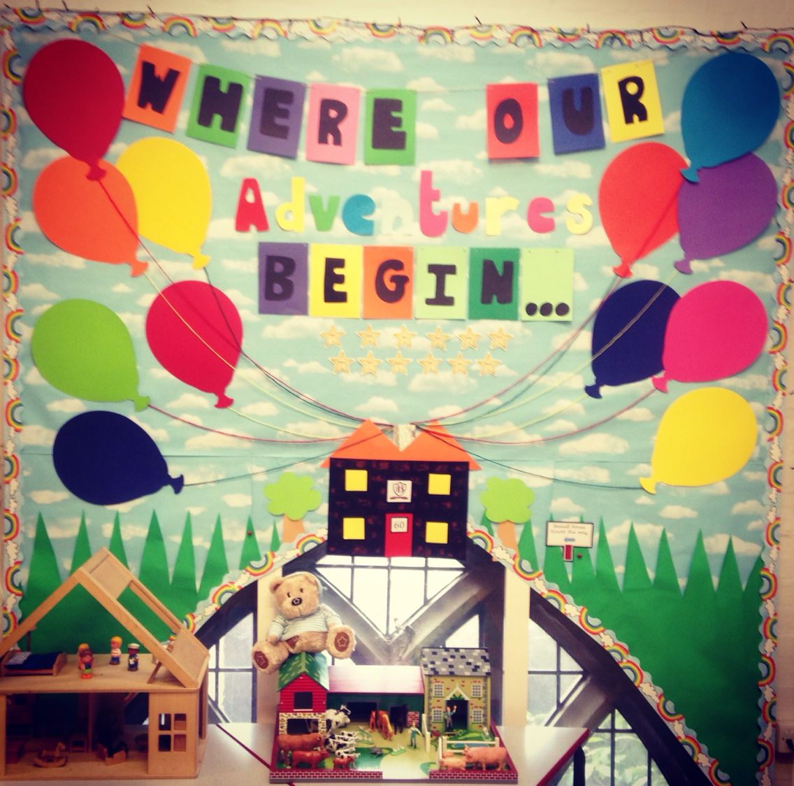 A welcoming display for my reception children who have their own balloon!