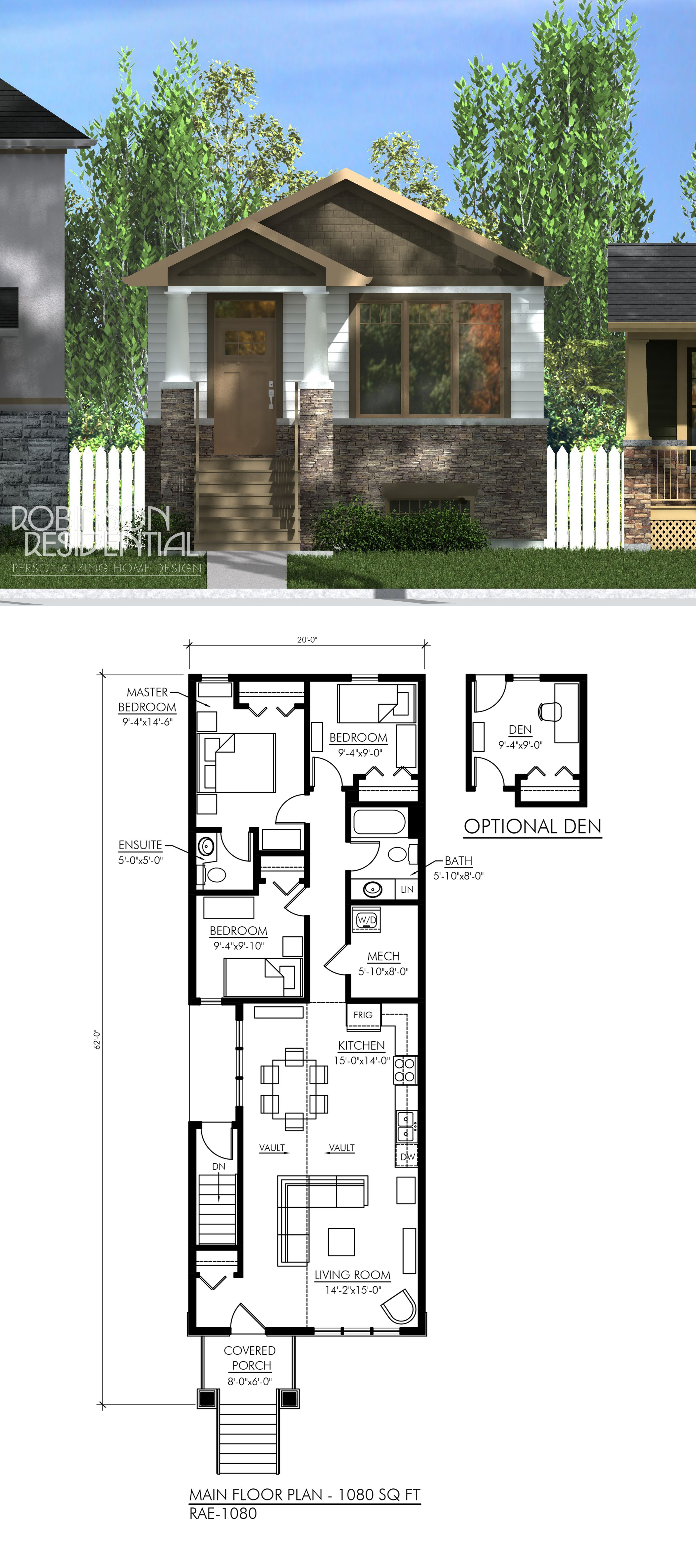 Craftsman Rae 1080 Robinson Plans Craftsman House Plans Small House House Plans