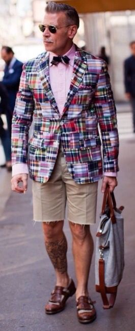 Nick Wooster, Madras Jacket and Khaki Shorts. Men's Spring Summer Fashion.