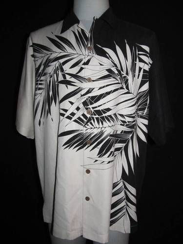 dd462cb8e Tommy Bahama Sz M Black White Hawaiian Shirt 100 Silk Aloha Embossed Relax  | eBay