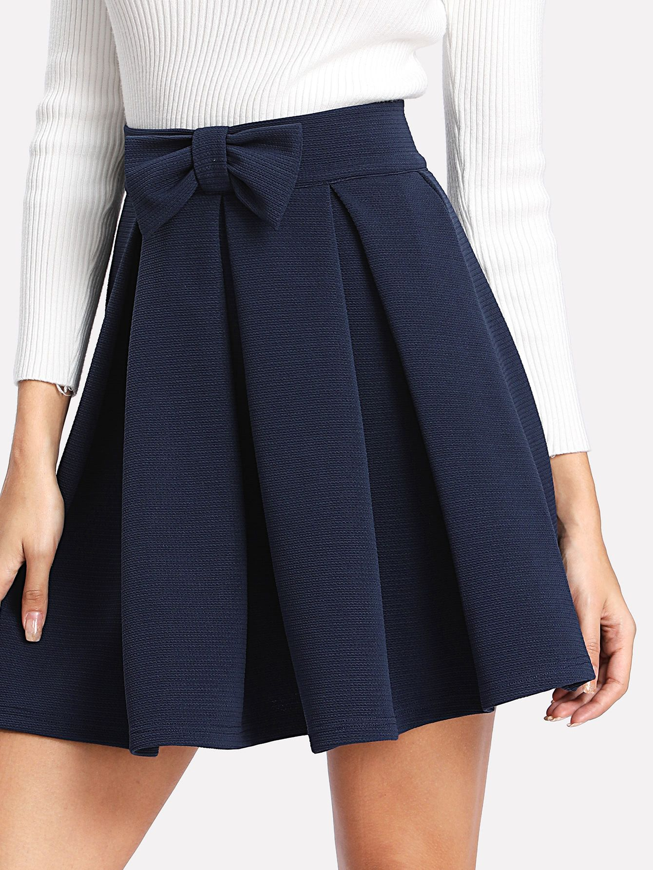 Shop Bow Front Box Pleated Textured Skirt Online Shein Offers Bow Front Box Pleated Textured Skirt Mor Blue Skirt Outfits Textured Skirt Pleated Skirt Short