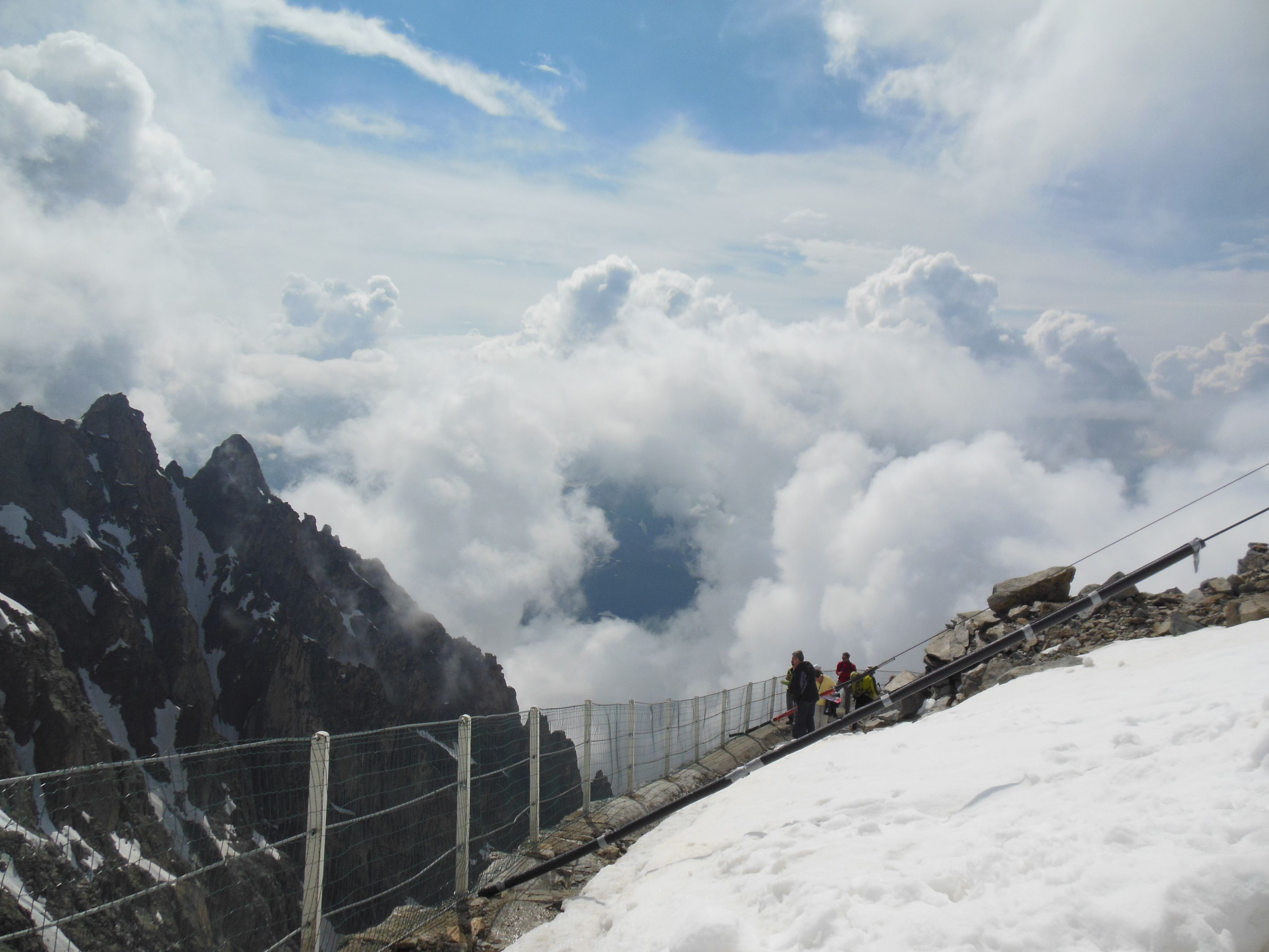 view from the top of Mont Blanc, highest mountain in the Alps