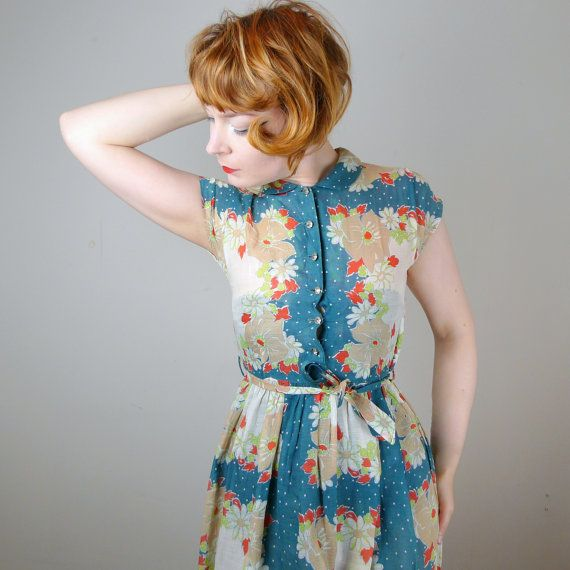 STUNNING floral 40s tea dress in polka dot and flower print by SartorialMatters