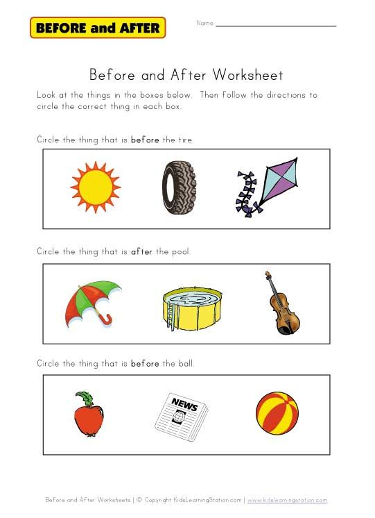 before and after worksheet (FREE worksheets) | Therapy Activities ...