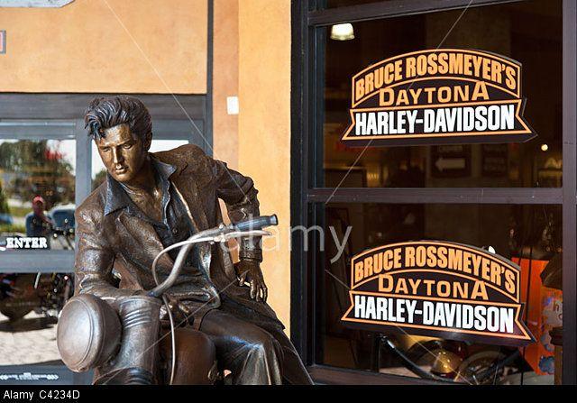 Elvis Presley on a Motorcycle bronze sculpture by Jeff Decker at Harley Davidson dealership in Daytona