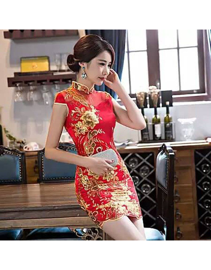 72c68973f439 Qipao / Cheongsam- Luxury Embroidery Chinese Dress Costume Size M ...