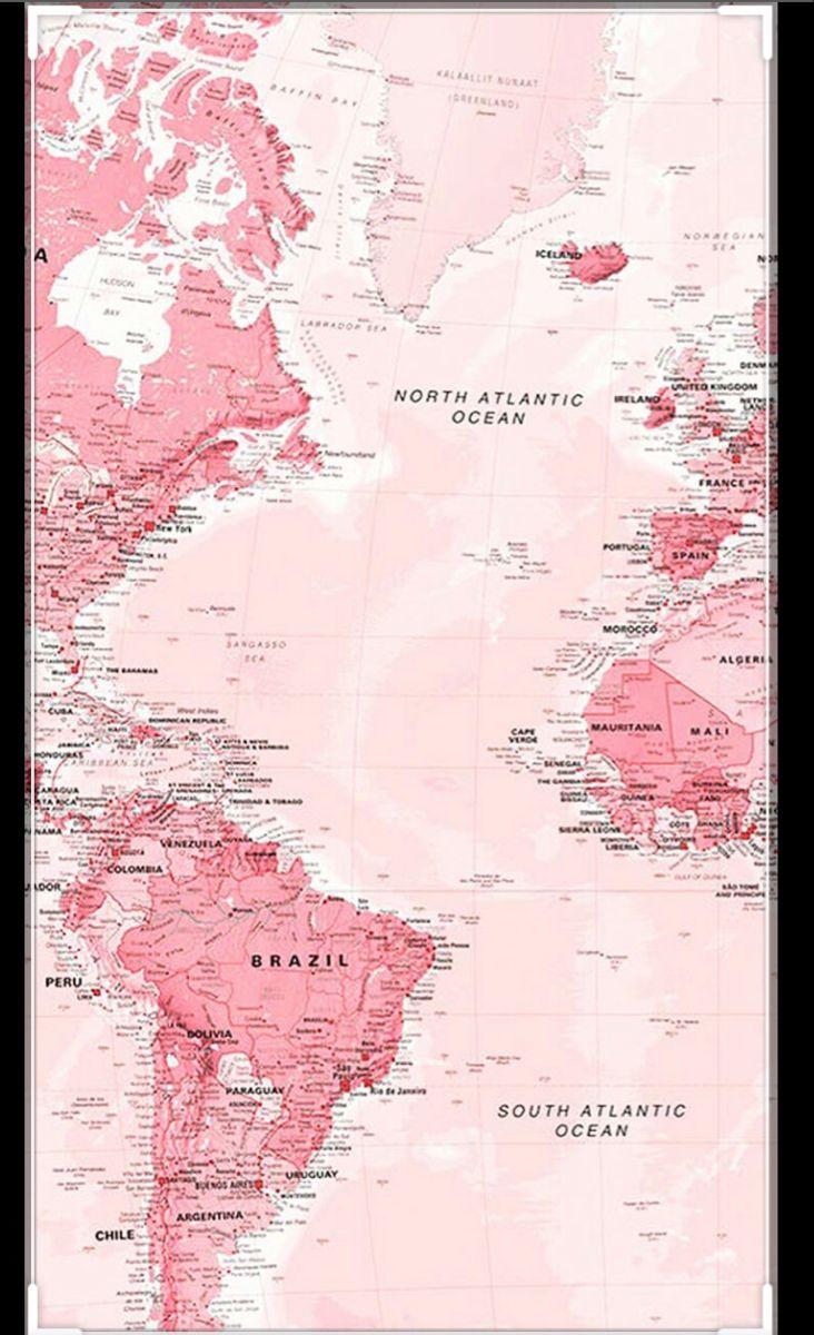 🤍Aesthetic Pink Map Wallpaper🤍