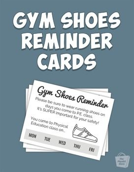 Gym Shoes Reminder Cards