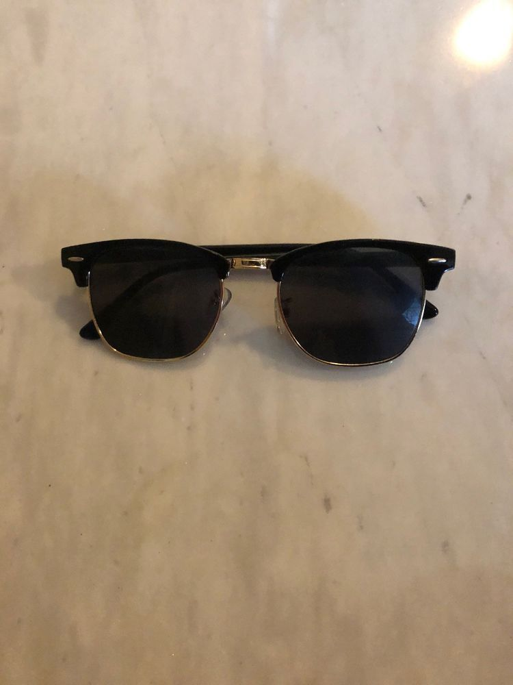 d87941270a Classic Vintage Half Frame ClubMaster Sunglasses--Black with Gold Rims   fashion  clothing  shoes  accessories  mensaccessories ...