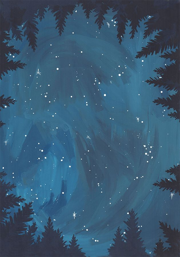 Starry Night Painting In Gouache From 1canoe2 Artwork Product Nature Art Wallpaper Starry Night Painting Night Illustration