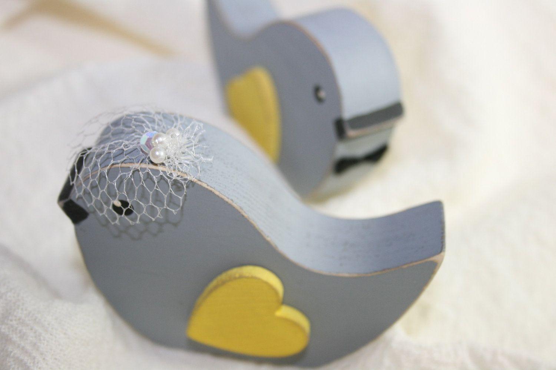 Wedding decorations yellow and gray  Wedding Cake Topper Love Birds Primitive Birdcage Veil  via