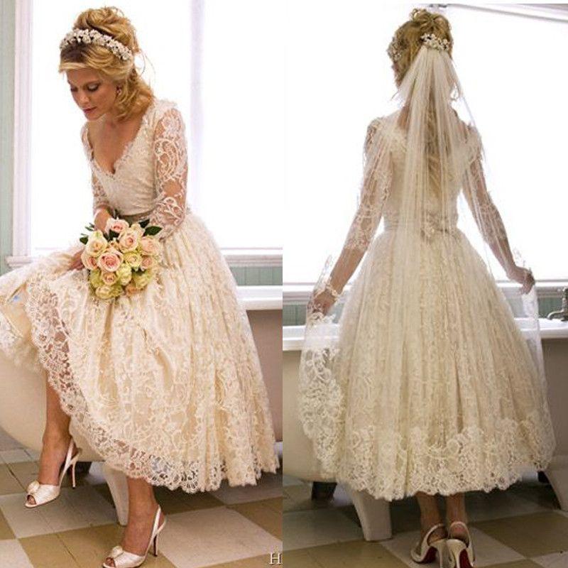Hot Sale White Vintage Lace Tea Length Beach Wedding Dress 2016 Elegant Long Sleeve Bridal Gowns