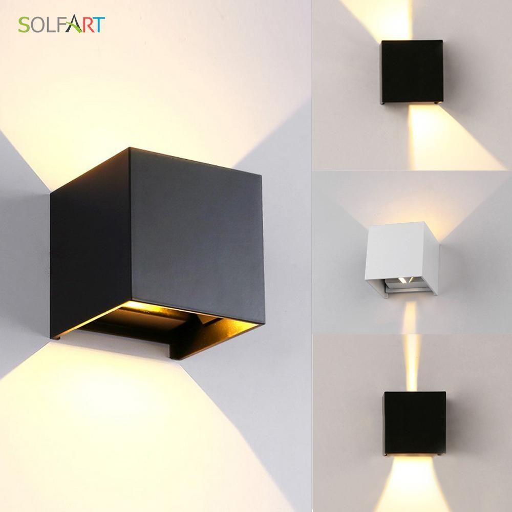 Applique murale LED design en cube (noir, blanc ou gris