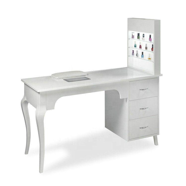 Wholesale Wood White Beauty Salon Desk Nail Station Manicure Table With Cabinet Beauty Spa Equipment Hair Salon Furnitur Manicure Table Nail Station Salon Desk