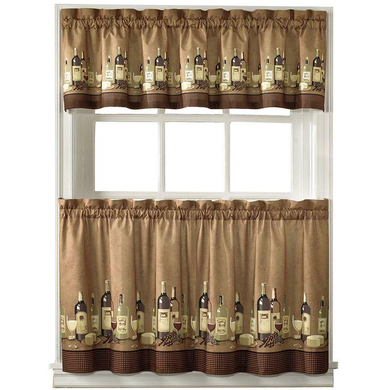 Wines 3 Pc Rod Pocket Kitchen Curtain Set Kitchen Curtain Sets Wine Theme Kitchen Cafe Curtains