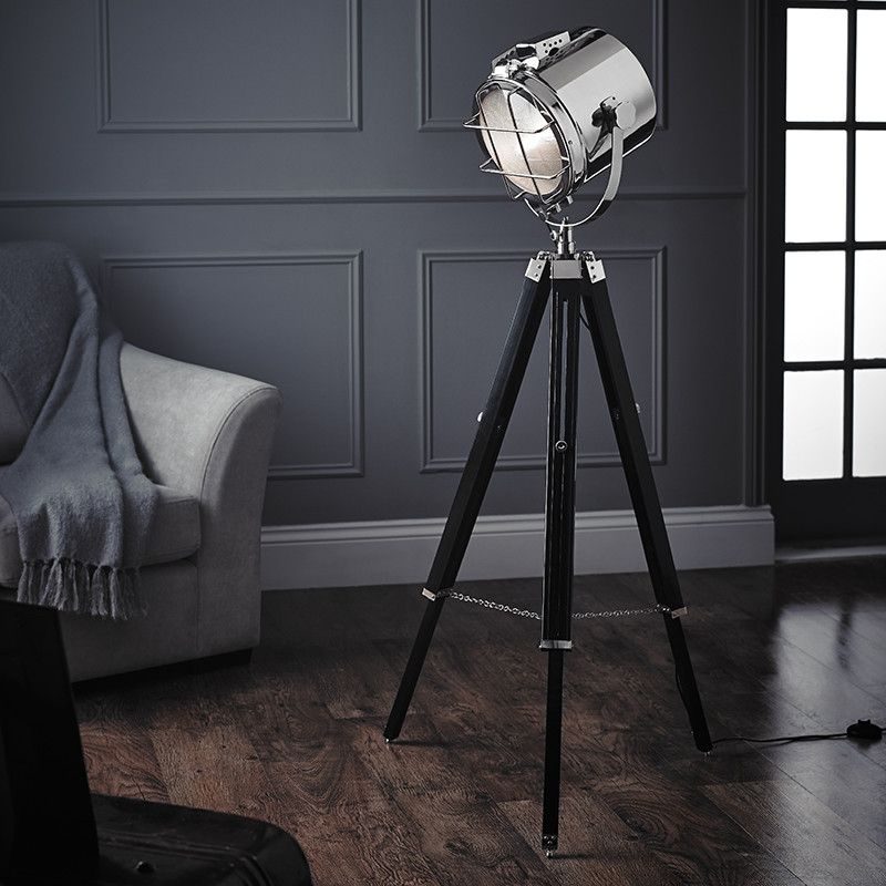 Compton Tripod Floor Lamp Spotlight Industrial Lamps