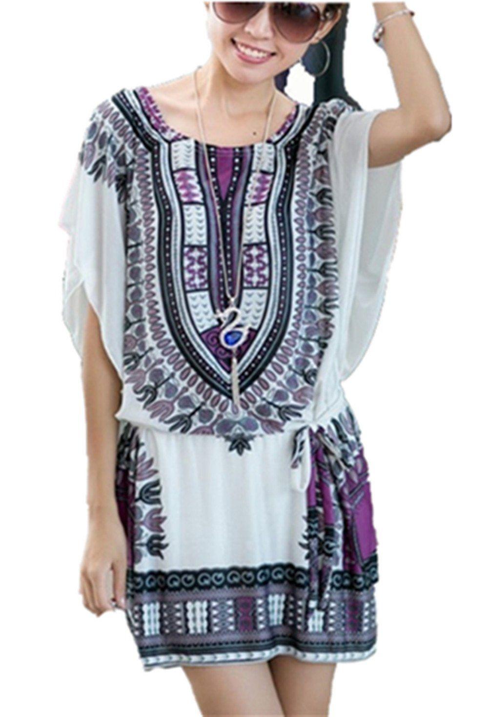 05467086fb Women's Batwing Sleeve Mini Dress BOHO Floral Printing Summer Beach Dress:  Amazon.co.uk: Clothing