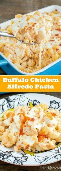 Buffalo Chicken Alfredo Pasta Bake -