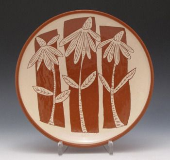 ronphilbeckpottery  Terracotta with sgraffito design