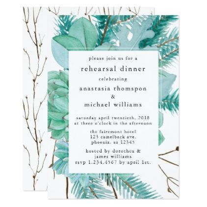 Watercolor twigs light green rehearsal dinner card wedding watercolor twigs light green rehearsal dinner card wedding invitations cards custom invitation card design stopboris Images