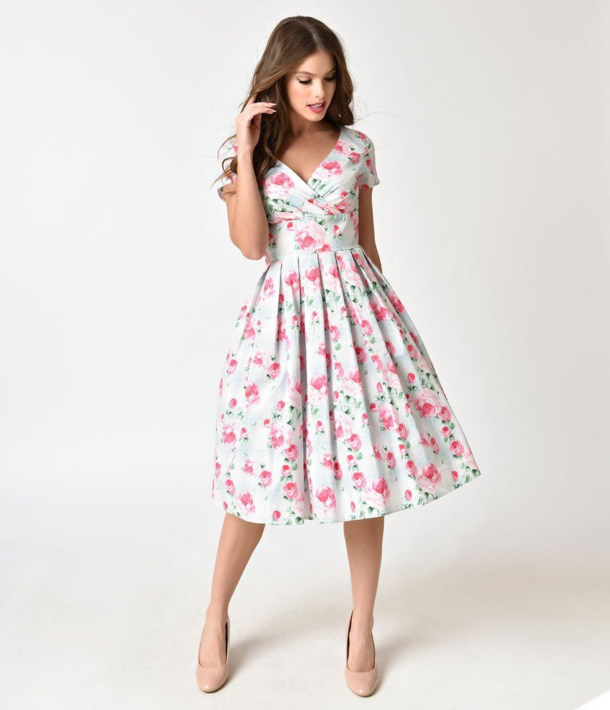 270ae7b2c8be Hell Bunny Mint & Floral Print 1950s Style Natalie Cotton Dress ...
