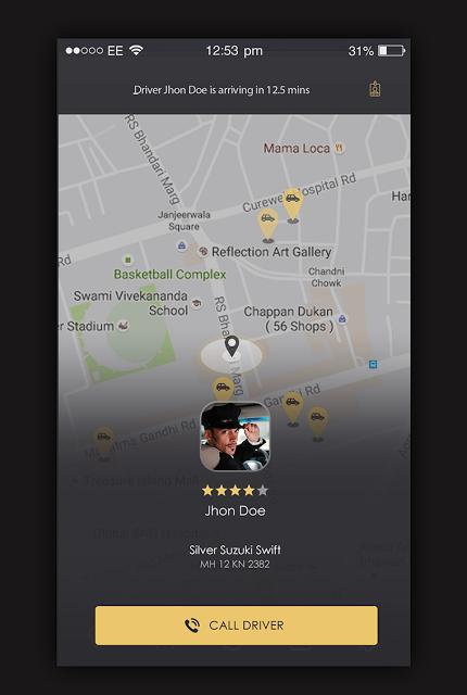 My Taxi App UI Design   Creative Designs Idea Free   App ui design