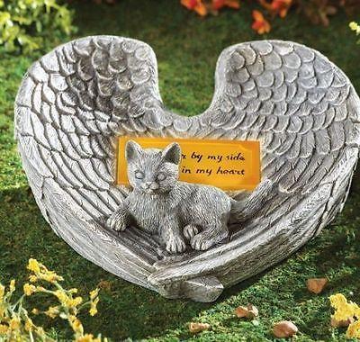 cat memorial stone pet garden statue solar angel wings light forever in my heart - My Pet Garden