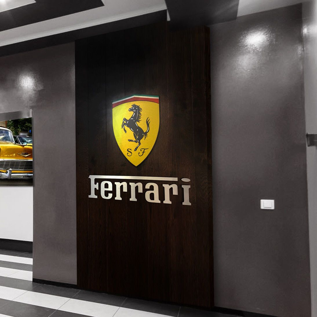 Ferrari Garage Sign Logo Color Letters Brushed Silver Aluminum Gift 3 Feet Ferrari Sign Ferrari Brushed Silver