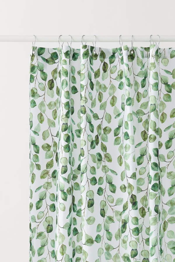 H M Patterned Shower Curtain Green Curtain Green Patterned
