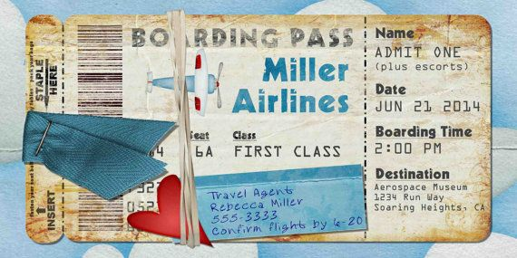 Airplane Boarding Pass Invitation for Birthday Party, Bon Voyage