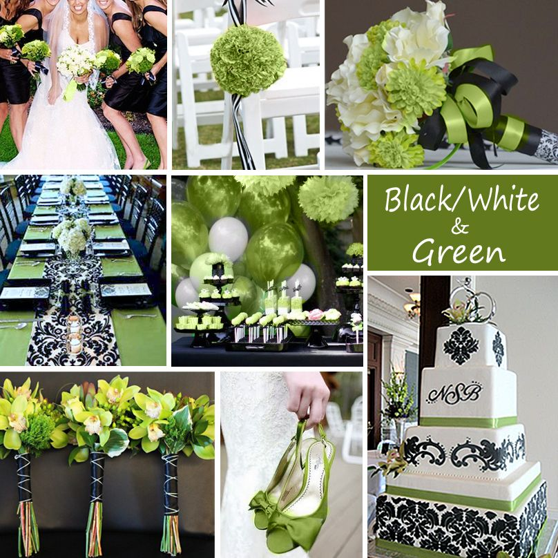 Black, White And Green Wedding Colors