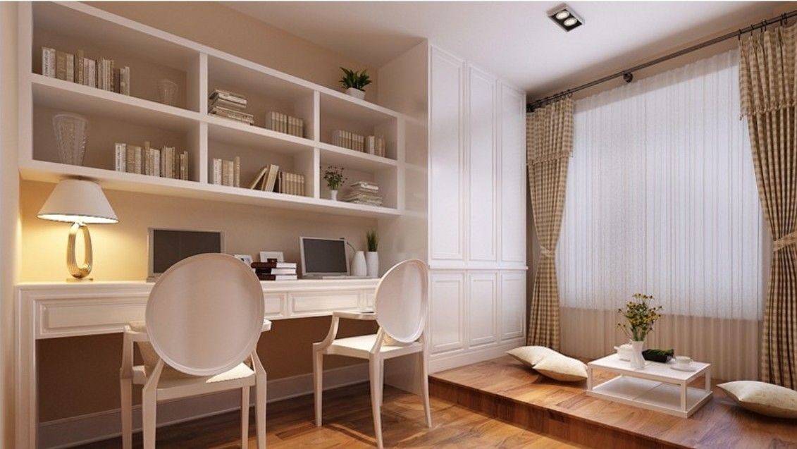 Korean study room interior decoration pastoral for Study interior styling