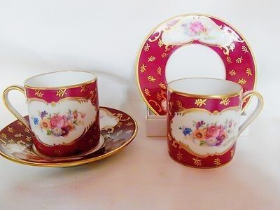 RARE FABRIQUE ROYALE LIMOGES DEMITASSE SET - 6 CUPS/SAUCERS