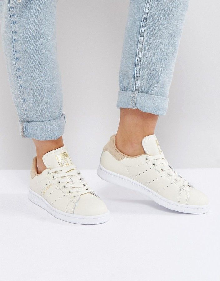 huge discount 2be2d c186c adidas Off White Stan Smith Sneakers With Tan Trim