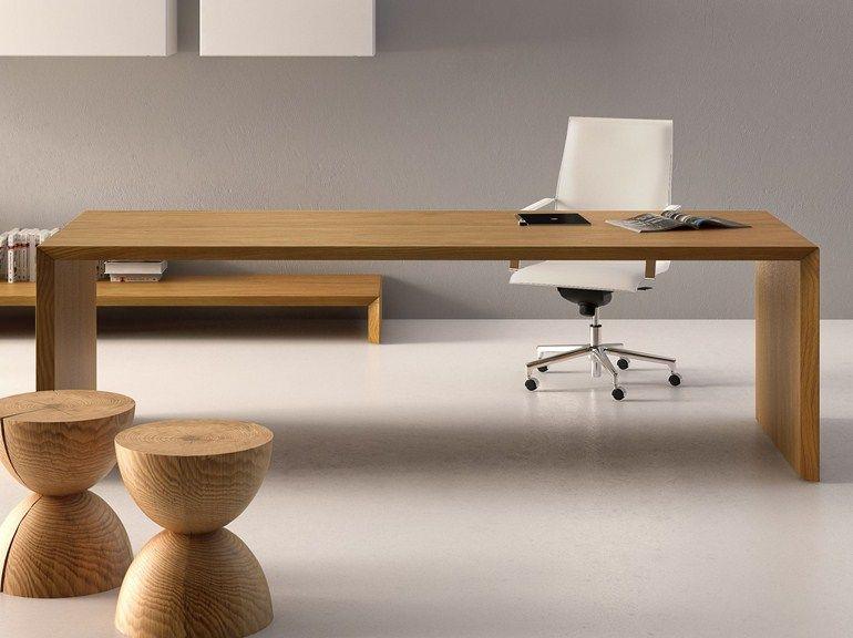 Bureau rectangulaire en bois design cedar by fantoni table de