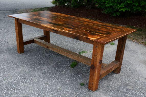 Attirant Rustic Reclaimed Barn Wood Harvest Table