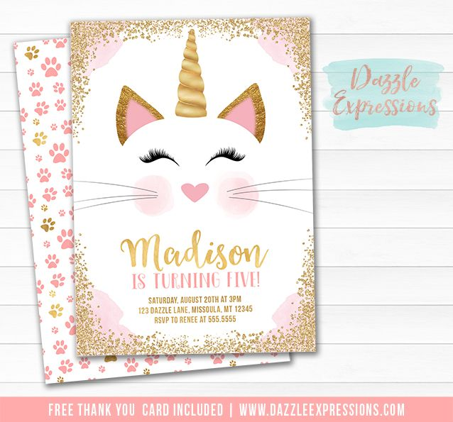 Printable caticorn birthday invitation kittycorn kitty cat printable caticorn birthday invitation kittycorn kitty cat pink and gold glitter unicorn thank you card banner cupcake toppers favor tag filmwisefo