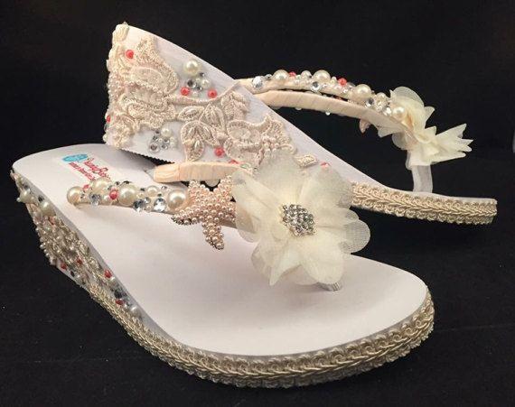 5a0611e9b69da8 So Sweet Bride Donna OOAK Ivory Embellished Wedge Wedding Flip. So Sweet  Bride Donna OOAK Ivory Embellished Wedge Wedding Flip Sandals ...