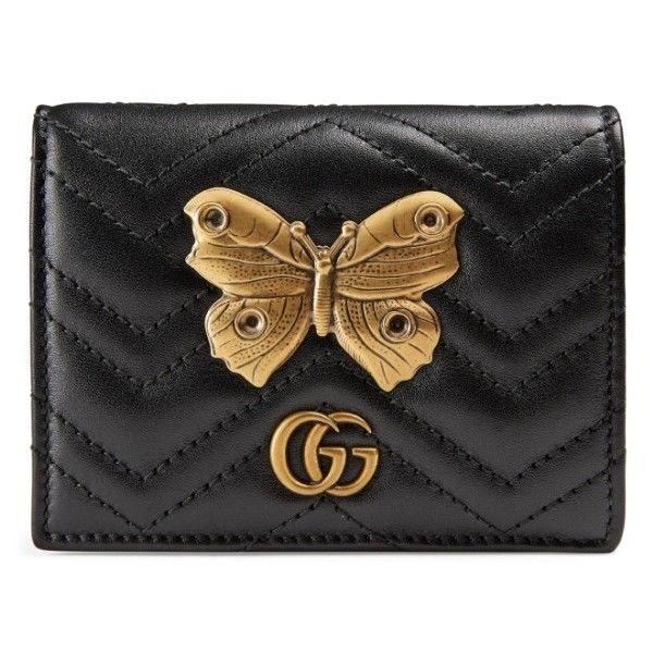 buy popular 34e2b b6a0e Women's Gucci Gg Marmont 2.0 Moth Matelasse Leather Card Case (900 ...
