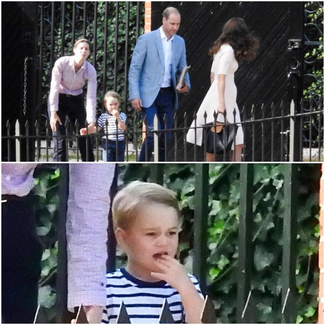 Newly Released Photo Of Prince George Prince George Watches His Parents Leave For Cornwall With Nann Prince William And Kate Princess Kate Prince And Princess