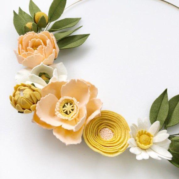 Photo of Peach and Yellow Felt Flower Hoop, Peony Felt Flower Wreath, Nursery Decor,  Bridal Shower Decor, Baby Shower Decor, Icelandic Poppy Flowers