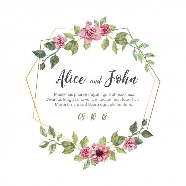 Baixe Convite De Casamento Floral Gratuitamente Floral Wedding Invitations Floral Wedding Invitations Free Watercolor Wedding Invitations
